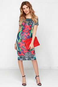 Tropic Like It's Hot Tropical Print Off-the-Shoulder Dress at Lulus.com!