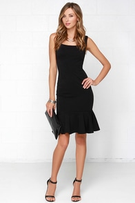 Glamorous Like Clock Workin' It Black Midi Dress at Lulus.com!