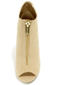 Dollhouse Strive Nude Suede High Heel Booties at Lulus.com!