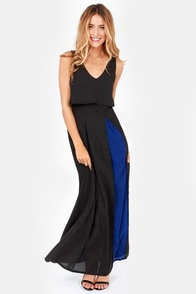 LULUS Exclusive Dual in Good Fun Blue and Black Maxi Dress at Lulus.com!