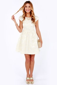 Rose Were the Days Cream Jacquard Dress at Lulus.com!