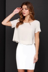 Wake Me Scallop Light Beige Crop Top at Lulus.com!