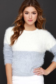 Sugarhill Boutique Suzie Fuzzy Lavender and Cream Sweater at Lulus.com!
