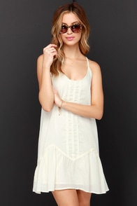 Peasant-ly Surprised Cream Dress at Lulus.com!