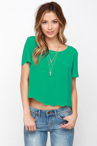 Wake Me Scallop Green Crop Top at Lulus.com!