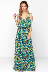 Amazonian Due Time Green Print Maxi Dress at Lulus.com!