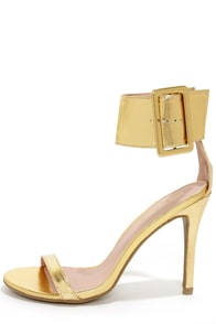 Shoe Republic LA Gayla Gold Single Strap Heels
