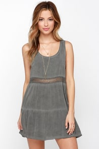 Neutral Mood Washed Grey Dress at Lulus.com!