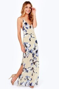 At Long Last Beige Floral Print Maxi Dress