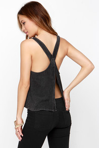 Two to Tank-O Washed Black Crop Top at Lulus.com!