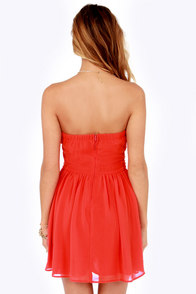 LULUS Exclusive Sash Flow Strapless Red Orange Dress at Lulus.com!
