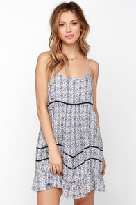 Beach Cruiser Blue Print Shift Dress at Lulus.com!