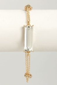 Throw Me a Stone Gold Rhinestone Bracelet at Lulus.com!