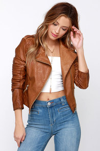 Black Swan Heart Tan Vegan Leather Moto Jacket at Lulus.com!