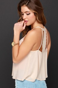 Charm in Arm Peach Lace Crop Top at Lulus.com!