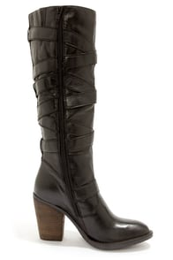 Steve Madden Renegaid Black Leather Belted Knee High Boots at Lulus.com!
