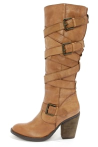 Steve Madden Renegaid Cognac Leather Belted Knee High Boots