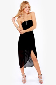 Perfect Ten Strapless Black Dress at Lulus.com!