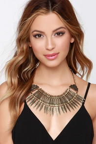 Az-Technically Speaking Gold Statement Necklace at Lulus.com!