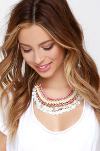 Shell We Dance? Neon Pink Statement Necklace at Lulus.com!