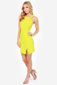 Aryn K Electric Current Chartreuse Yellow Dress at Lulus.com!