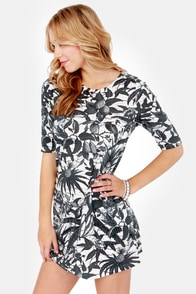Going Cabanas Ink Blue Tropical Print Dress at Lulus.com!