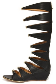 Report Signature Geri Black Tall Gladiator Sandals at Lulus.com!