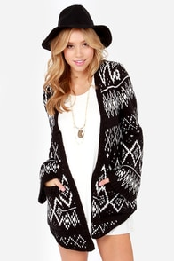 Element Eden Eisley Ivory and Black Cardigan Sweater at Lulus.com!