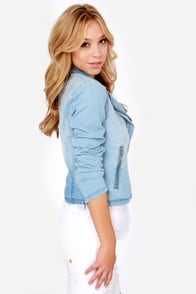 Element Eden Bloom Blue Chambray Moto Jacket at Lulus.com!