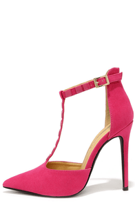 Square-dy Cat Fuchsia Studded Pointed Pumps at Lulus.com!