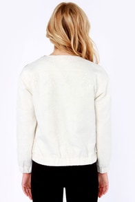 Secret Jacquard-en Ivory Bomber Jacket at Lulus.com!