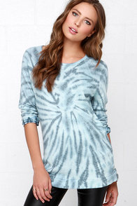 Obey Echo Mountain Blue Tie-Dye Sweater Top at Lulus.com!