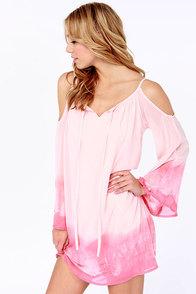 Breezy Does It Peach Tie-Dye Shift Dress at Lulus.com!