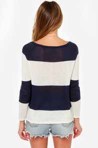 Skipper's Pick White and Navy Blue Striped Sweater at Lulus.com!