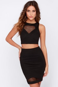 Mesh with the Best Black Two-Piece Dress at Lulus.com!