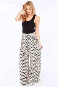 Give It a Go Black and Cream Wide-Leg Pants at Lulus.com!