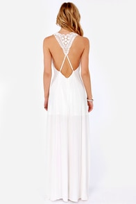Crocheted in Heaven Ivory Lace Maxi Dress at Lulus.com!