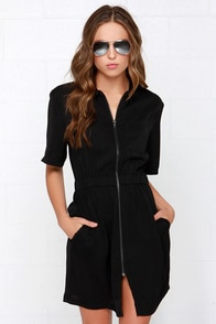 Glamorous Collar I.D. Black Shirt Dress at Lulus.com!