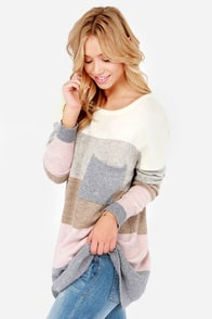 Hot Cocoa Grey and Pink Striped Sweater at Lulus.com!