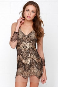 Beautiful Mesh Tan and Black Lace Dress at Lulus.com!