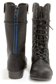 Madden Girl Gamblez Black Pari Lace-Up Combat Boots at Lulus.com!