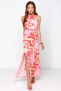 Mink Pink Kyoto Dreaming Coral Red Floral Print Maxi Dress at Lulus.com!