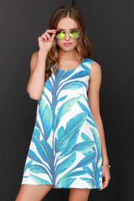 Somedays Lovin' Ferny Feelin' Blue Print Dress at Lulus.com!