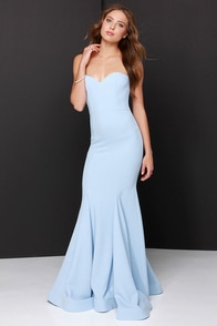 Chic Light Blue Dress Strapless Dress Maxi Dress 205 00
