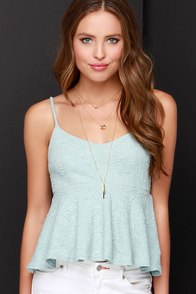 Changing of the Jacquard Light Blue Peplum Top at Lulus.com!
