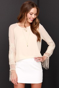 I. Madeline Pearly Dewdrops Drop Light Peach Top at Lulus.com!