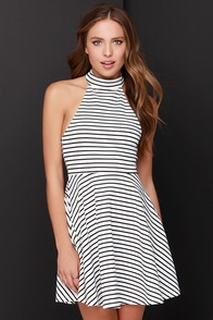 Mink Pink Find Me Guilty Black and Ivory Striped Halter Dress at Lulus.com!