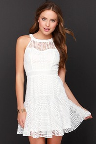 Heavenly Geometry Ivory Lace Halter Dress at Lulus.com!