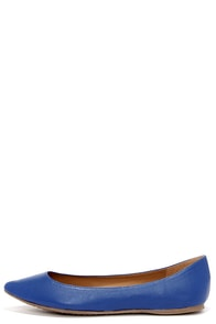 Flat Chance Blue Pointed Flats at Lulus.com!