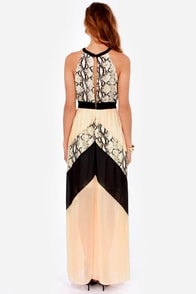 Snake the Rules Peach and Black Maxi Dress at Lulus.com!